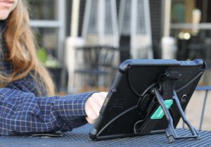 The IntelliSkin with the HandStand attachment makes your tablet a versatile work and entertainment tool.