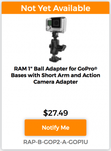 "RAM 1"" Ball Adapter for GoPro Mounting Bases Kit with Short Arm and Action Camera Adapter Notify Me"