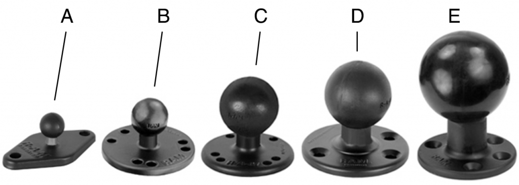 RAM Mounts Ball Sizes
