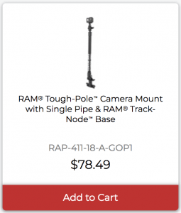 RAM Tough-Pole Camera Mount with Single Pipe and RAM Track-Node Base