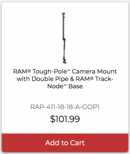 RAM Tough-Pole Camera Mount with Double Pipe and RAM Track-Node Base