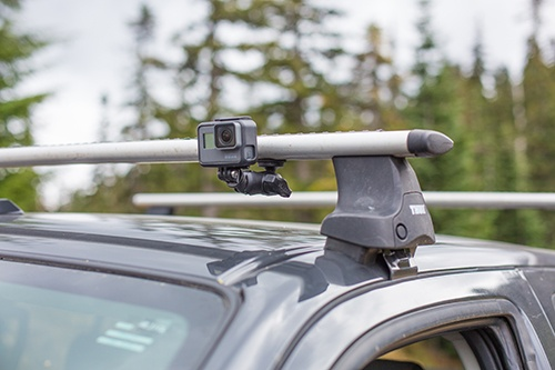 RAM Mounts universal action camera adapter on Thule canopy tracks