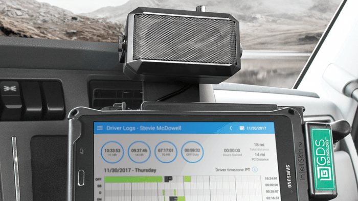 GDS® Audio™ speaker and vehicle dock featuring distinctive GDS® Green™ color