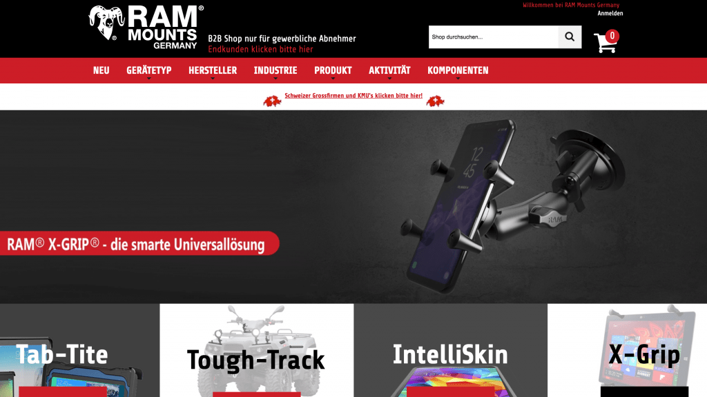 RAM® Mounts Germany homepage