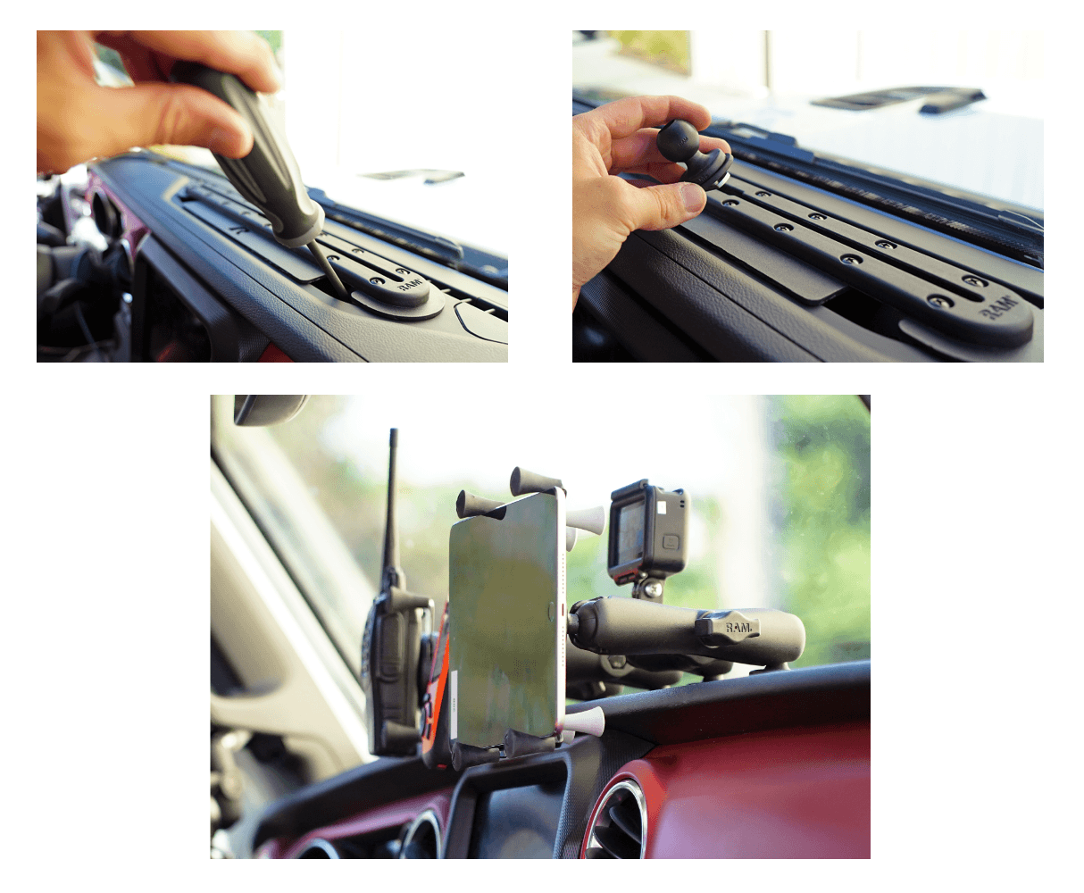 RAM® Tough-Track™ Dash Mount for Jeep Installation