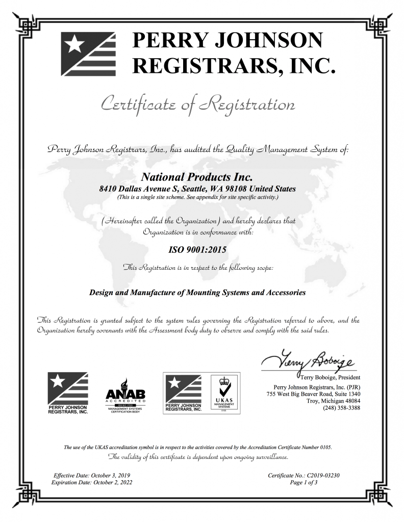 NPI ISO9001:2015 Certified
