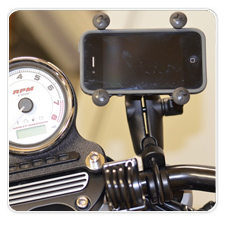 iPhone X-Grip Rail Mount on Harley Icon XR1200