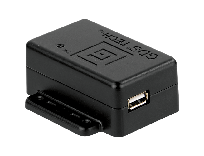 A black GDS® Charge™ adapter face-up and showing side USB port.