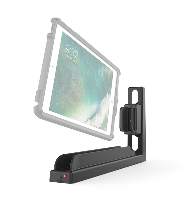 Angle view of a black GDS® Slide Dock™ and a translucent tablet in an IntelliSkin® case aimed at the Slide Dock™ port.