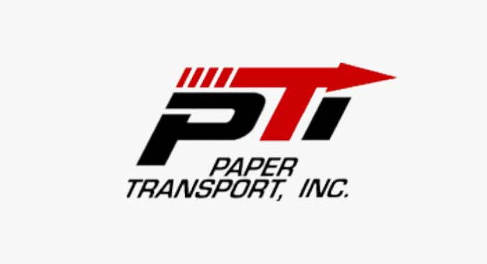 Black and red Paper Transport business logo with red arrow pointing right