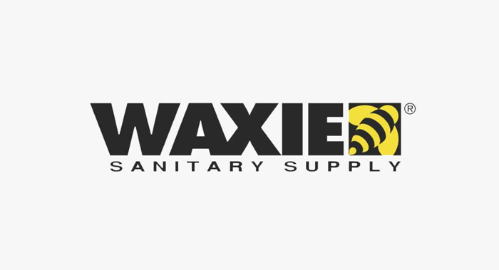 Black business logo for Waxie Sanitary Supply with yellow-striped bee on right side
