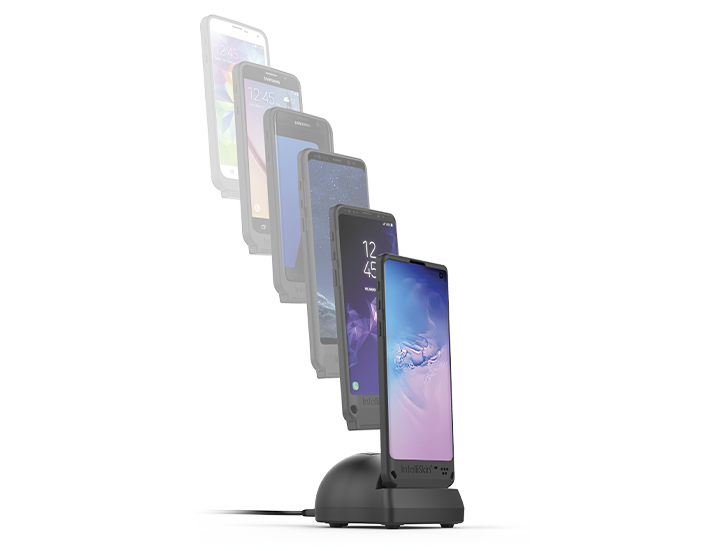 Faded line of smartphones flowing down to a phone with IntelliSkin® case in a GDS® charging dock