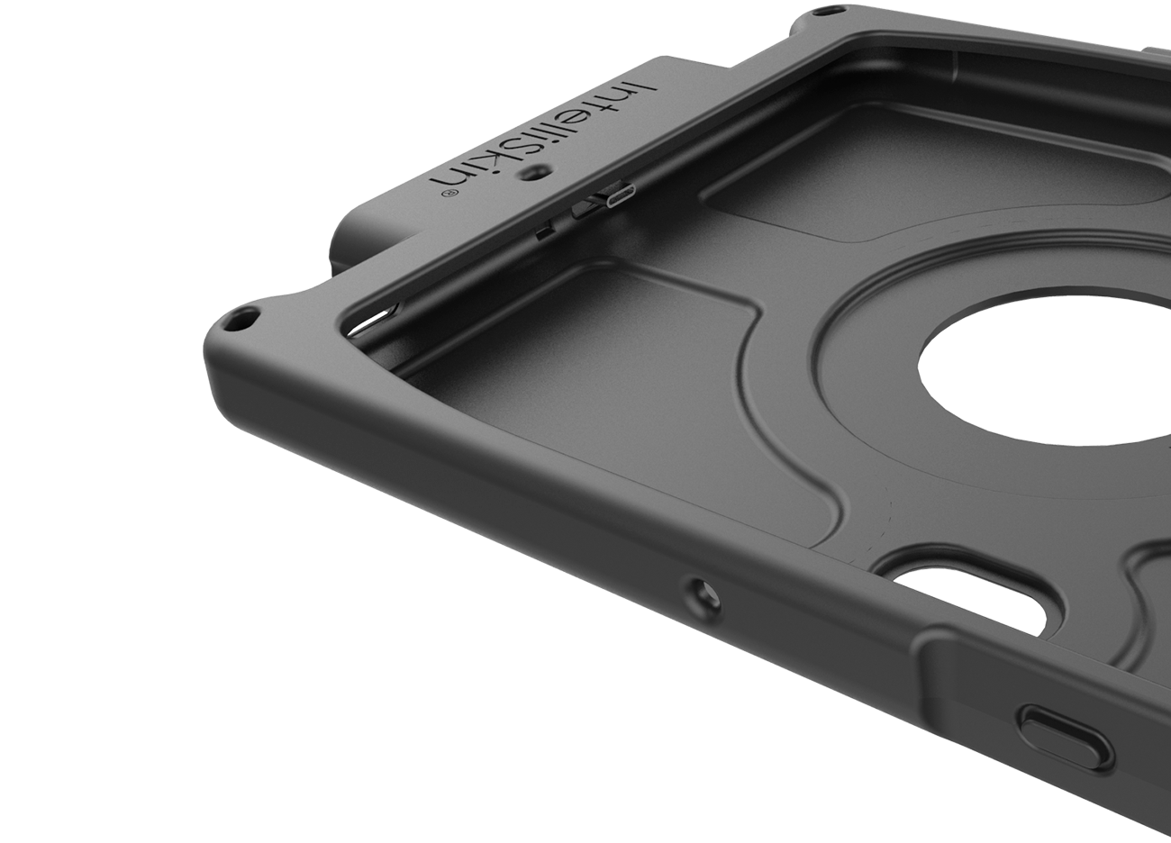 Angled view of an empty IntelliSkin® case for a Samsung Galaxy S10