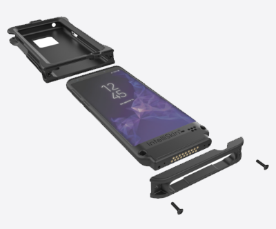 Angled view of a disassembled IntelliSkin® HD™ shell and a smartphone with IntelliSkin® case