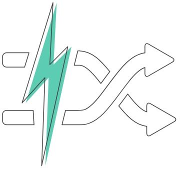 A green lightning bolt over two arrow lines that swap directions symbolizes GDS® power delivery.