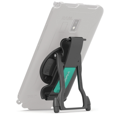 GDS® Hand-Stand™ accessory holding up a translucent IntelliSkin® tablet case