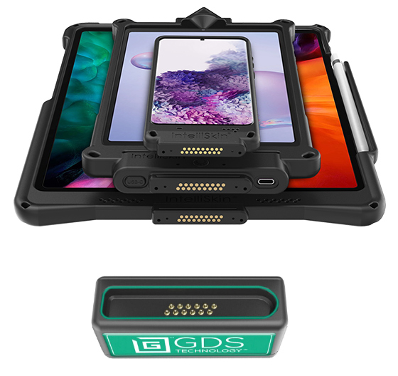 A smartphone, phablet, and tablet with IntelliSkin® cases in a stack above a GDS® pogo pin port