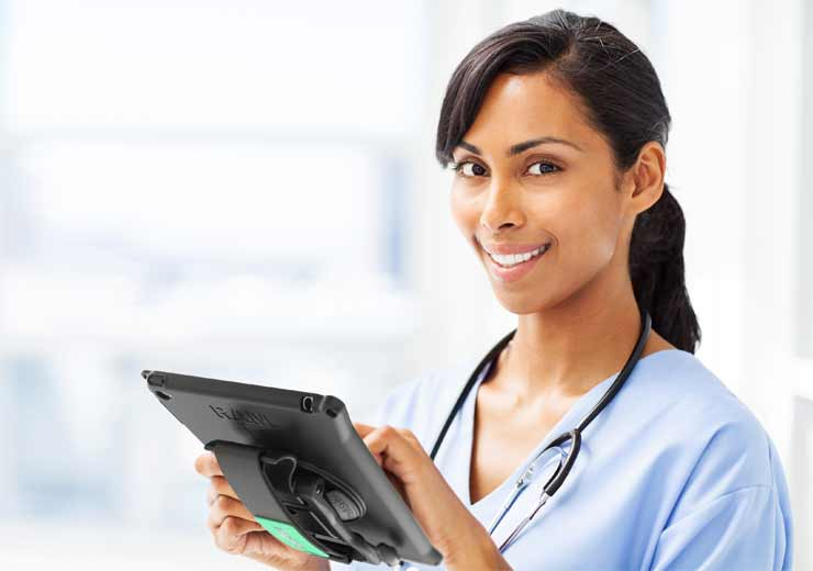 IntelliSkin® and GDS® Technology™ with a tablet in hand