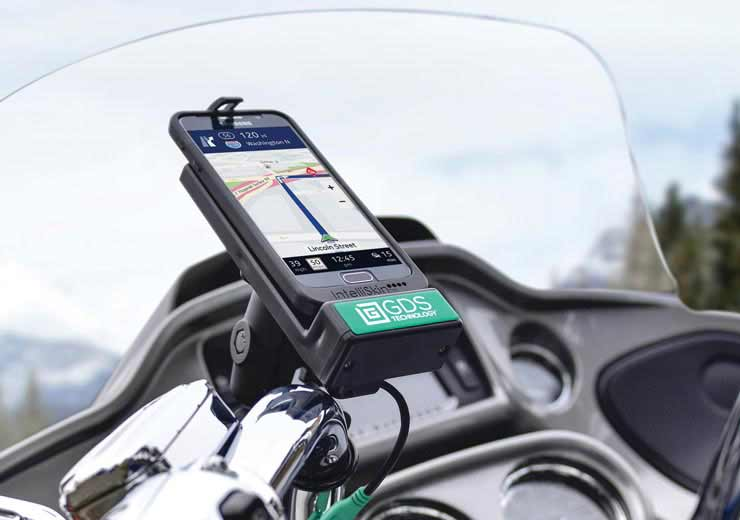 IntelliSkin® and GDS® Technology™ with a phone mounted on a motorcycle