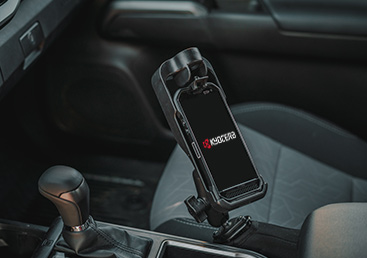 Kyocera Duraforce Ultra 5G E7110 holders and docks in a vehicle