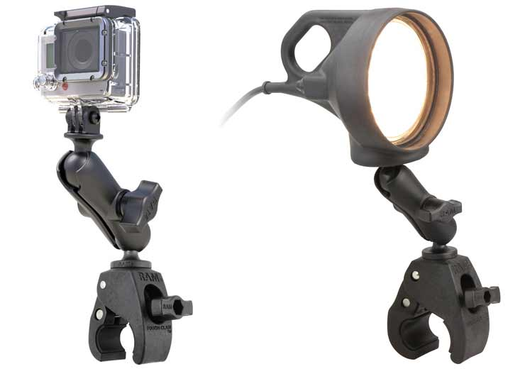 RAM® Tough-Claw™ with action camera and RAM® Tough-Claw™ with light