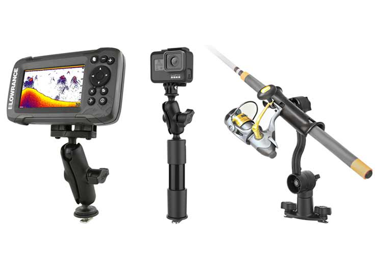 RAM® Tough-Track™ with fishfinder, RAM® Tough-Track™ with action camera, and RAM® Tough-Track™ with fishing rod