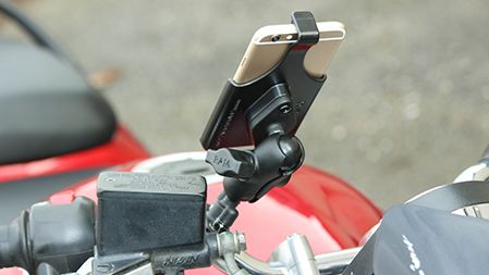 iPhone in form fit cradle mounted to motorcycle