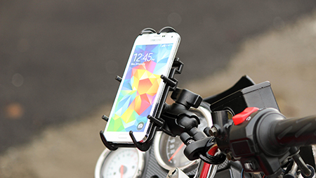 Samsung Phone in Quick grip mounted to a motorcycle