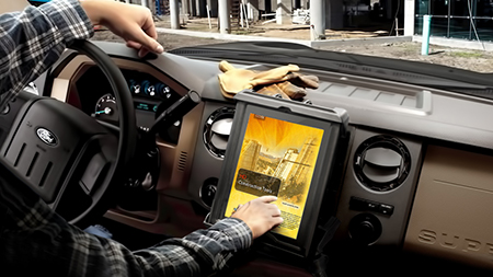 tablet in Tab-Tite in vehicle