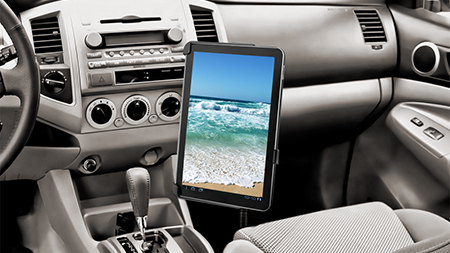 Tablet in form fit cradle in vehicle