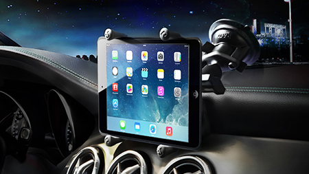 iPad in X-Grip mounted in car with suction cup