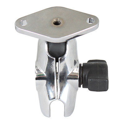 RAM-B-103-A-238CHU - RAM Chrome Double Socket Arm with Diamond Plate