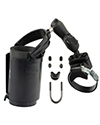 RAM-B-132R-2U - RAM Strap Clamp, Roll Bar Mount with Double Socket Arm & Self-Leveling Drink Cup Holder (Koozie Included)