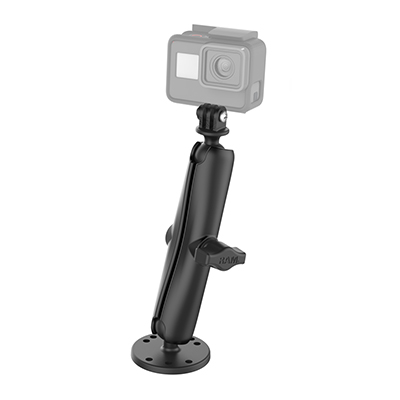 RAM-B-138-C-GOP1 - RAM Drill-Down Mount with Double Socket Arm with Action Camera Adapter