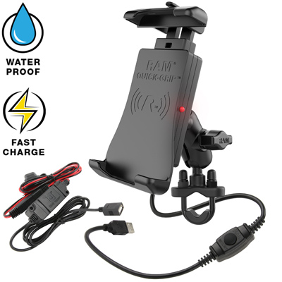 RAM-B-149Z-A-UN14W-V7M - RAM QUICK-GRIP WIRELESS WITH UBOLT MOUNT AND MOTORCYCLE HARDWIRE CHARGER