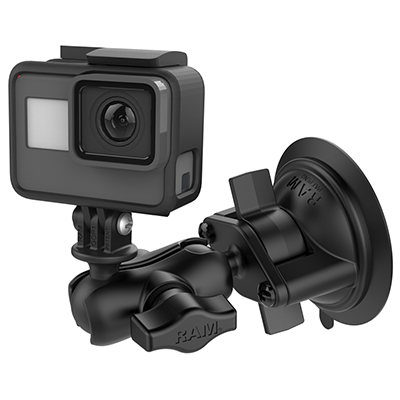 RAM-B-166-A-GOP1U - RAM Twist-Lock Suction Cup Mount with Universal Action Camera Adapter