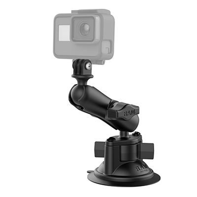 RAM-B-166-GOP1U - RAM Twist-Lock Suction Cup Mount with Universal Action Camera Adapter