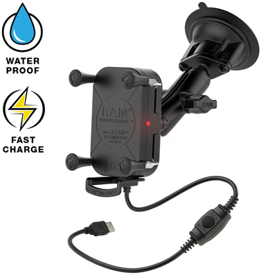 RAM-B-166-UN12W - RAM Tough-Charge Waterproof Wireless Charging Suction Cup Mount