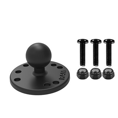 RAM-B-202-G4U - RAM Round Plate with Ball & Mounting Hardware for Garmin Striker + More