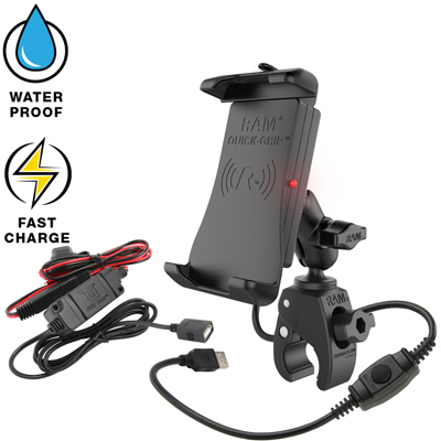 RAM-B-400-A-UN14W-V7M - RAM QUICK-GRIP WIRELESS WITH TOUGH CLAW MOUNT AND MOTORCYCLE HARDWIRE CHARGER