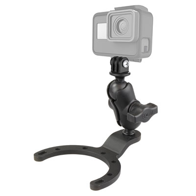 RAM-B-411-A-GOP1U - RAM Large Gas Tank Mount with Universal Action Camera Adapter