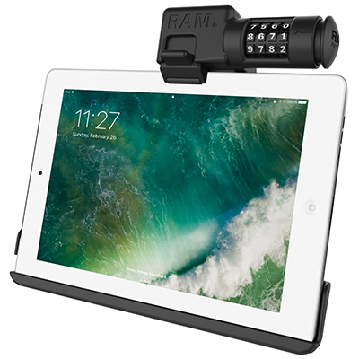 RAM-HOL-AP15CLU - RAM EZ-Roll'r Combo Locking Holder for iPad 6th Gen, Air 2 + More
