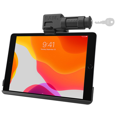 RAM-HOL-AP31KLU - RAM EZ-Roll'r Keyed Locking Holder for iPad 7th Gen, Air 3 & Pro 10.5
