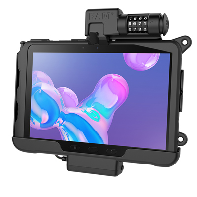 RAM-HOL-SAM57PCLU - RAM Skin Combo-Locking Powered Cradle for Samsung Tab Active Pro