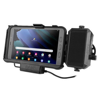 RAM-HOL-SAM60PD-AUDU - RAM Powered Dock for Samsung Tab Active3 and Tab Active2 with Speaker