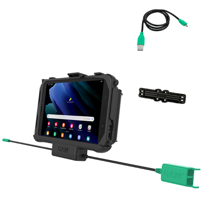RAM-HOL-SAM60PD2U - RAM EZ Roll'r Dual USB Cradle for Samsung Tab Active3 and Tab Active2