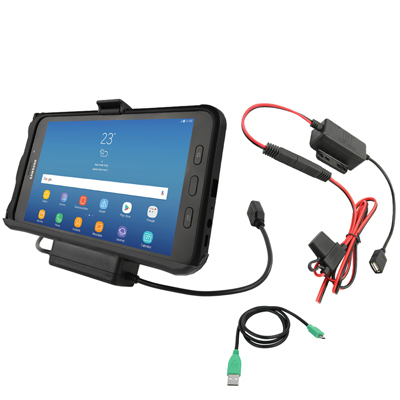 RAM-HOL-SAM7P2-HARU - RAM EZ-Roll'r Power & Data Cradle for Samsung Tab Active2 with Charger