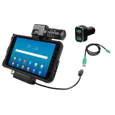RAM-HOL-SAM7PCL2-CIGU - UNPKD RAM POWER AND DATA DOCK FOR SAMSUNG TAB ACTIVE 2 COMBO LOCK WITH CIG CHARGER