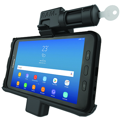 RAM-HOL-SAM7PKLU - RAM Key-Locking Powered Cradle for Samsung Galaxy Tab Active2