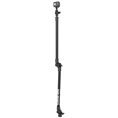 "RAP-411-18-18-A-GOP1-1 - RAM TRACK BASE DIRECT TO TRACK WITH 2 18"" PIPES, SHORT ARM AND GO PRO ADAPTER"